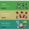 Mma fighting interactive 3d banners set vector image
