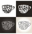 mug coffeelettering coffeemaniaicons set vector image vector image