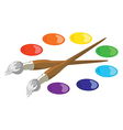 Paintbrushes and basic paint colors vector image vector image