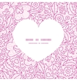 pink flowers lineart heart silhouette pattern vector image