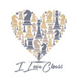 print with chess pieces of heart design i love vector image vector image
