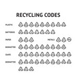 recycling code arrow icons set recycle label vector image vector image