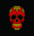 red skull on a black background vector image
