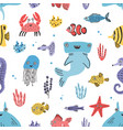 sea life seamless pattern hand drawn algae vector image