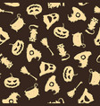 seamless halloween pattern on brown background vector image