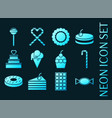 set confectionery blue glowing neon icons vector image