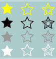 star yellow black grey white icon vector image vector image