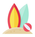 surfboards on sand icon summer vacation vector image vector image