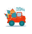 truck carries christmas tree baubles and balls vector image