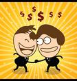 Two cute businessman check hand and joyfull their