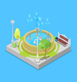 urban park and fontain isometric element for vector image vector image