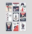 vintage party poster set retro style design vector image