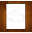White texture paper hanging on binder on a vector image vector image