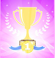 winner cup on purple background vector image vector image