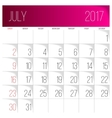 July 2017 calendar template vector image