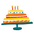 a colorful decorated cake mounted on a stand with vector image vector image