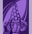 a cute little puppy with party hat vector image vector image