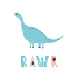 adorable dinosaur and rawr inscription isolated on vector image vector image