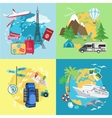 Air tourism Caravaning and camping tourism vector image vector image