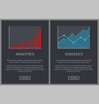 analytics and statistics graphics on web pages vector image vector image