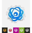 atom paper sticker with hand drawn elements vector image
