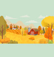 autumn farming landscape country farm yellow vector image