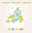 baby shower card parrot boy sitting on brunch vector image vector image
