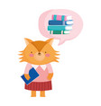 back to school cute fox with notebook think books vector image vector image