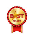 best seller award ribbon icon gold red badge vector image vector image