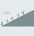 business people climbing high stair vector image