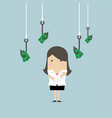 businesswoman with fishing hooks money vector image vector image