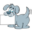 cartoon dog holding a sign vector image vector image