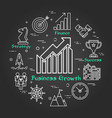 chalk board - business growth - arrow up vector image vector image