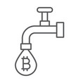 coin faucet thin line icon finance and money vector image vector image