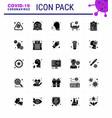 coronavirus 25 solid glyph icon set on theme vector image vector image