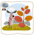 cute cartoon elk on background landscape forest vector image vector image