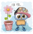 Cute Cartoon Owl with flower vector image vector image