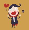 cute dracula cartoon character wearing black and vector image