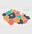 czech republic map with states and modern round vector image vector image