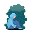 depression girl in hoodie sitting under rain vector image vector image