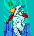 doctor defeats coronavirus mortal combat vector image