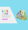 doodle kids menu and bafood web banner vector image