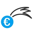 Euro Falling Meteor Flat Icon vector image