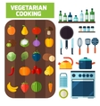 Flat kitchen and vegetarian cooking icons vector image