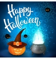 Halloween greeting card with witch cauldron hat vector image vector image