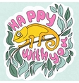 Hand draw greeting card with cute animals vector image