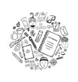 hand drawn collection with school stationery and vector image vector image