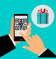 hand holding smartphone with qr code vector image