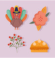 happy thanksgiving day turkey flower cake berries vector image vector image