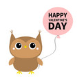 happy valentines day cute owl toy icon holding vector image